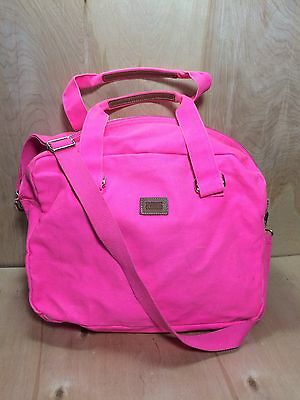 Victorias Secret PINK Bright Coated Canvas Duffle Gym Bag Overnight Beach Tote
