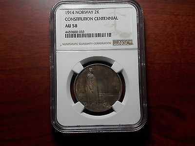 1914 Norway Constitution 2 Kroner silver coin NGC AU-58