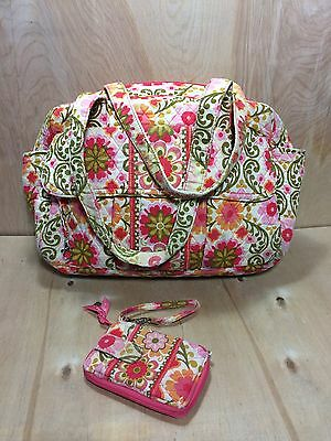 Vera Bradley Folkloric Diaper Bag Pink Floral Quilted Lined Tote Matching Wallet