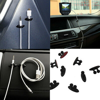 8Pcs Car Charger Line Headphone USB Cable Car Clip Interior Accessories Black
