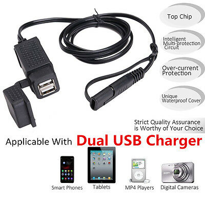5V 2.1A Motorcycle SAE Cable USB Adapter Weatherproof Dual Ports Charger Socket