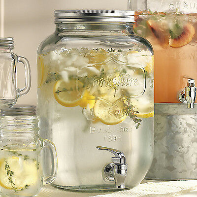 Mason Jar Beverage Dispenser with Spigot 2 Gallon Glass Sangria Ice Tea Parties
