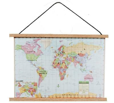 Dolls House Modern World Map Wall Hanging Chart 1:12 Study School Accessory