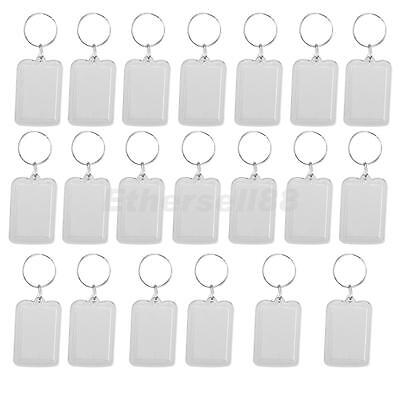 20 x Oblong Blank Clear Acrylic Keyring Make Your Own Photo Keychain 38x25mm