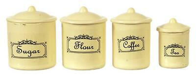 Dolls House Cream Metal Canister Set Storage Jars Miniature Kitchen Accessory
