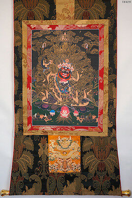 "Louxious Quality! 50"" Embroidered Brocade Wood Scroll Thangka: Dwarf Mahakala"
