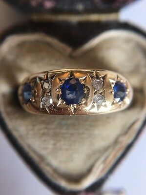 Antique Victorian Stunning 18ct Yellow Gold Sapphire And Diamond Ring Star Set