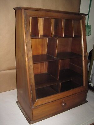 Antique Display Cabinet Table Top Glass Door With Drawer