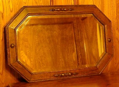 Vintage 8-Sided Oak Wood Frame Beveled Glass Mirror
