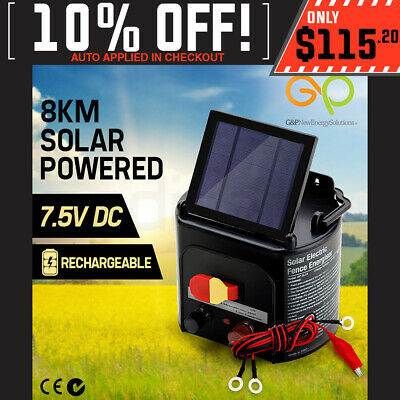 NEW G&P Solar Electric Fence Energiser 8KM Farm 7.5V DC Rechargeable Powered