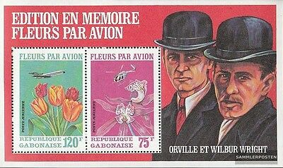 Gabon Block21A A mint never hinged mnh 1971 air freight shipping of Flowers