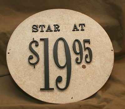 Vintage Sand Cast Wood Backing Store Display Sign As Found