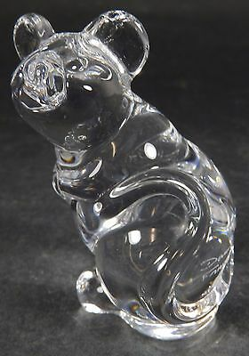 Daum France Signed Clear Glass Mouse Paperweight