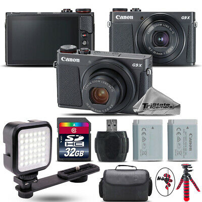 Canon PowerShot G9 X Mark II Digital 20.1MP Camera + EXT BAT + LED - 32GB Kit