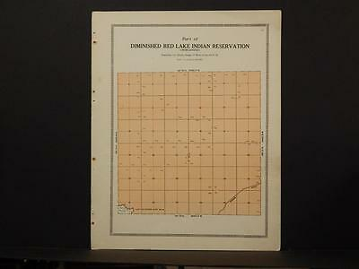 Minnesota Clear Water County Map Red Lake Indian Reservation  1912  Y6#92