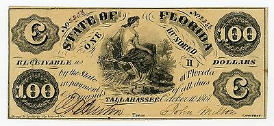 1861 Cr.2 $100 The State of FLORIDA Note - CIVIL WAR Era AU