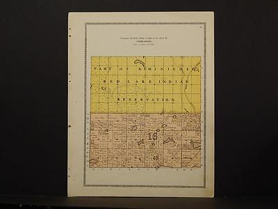 Minnesota Clear Water County Map Red Lake Indian Reservation 1912 Y6#97