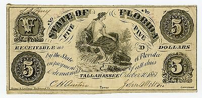 1861 Cr.6 $5 The State of FLORIDA Note - CIVIL WAR Era