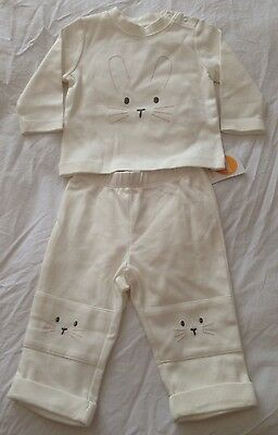 NWT GYMBOREE BOYS OR GIRLS Size 3-6 Months CREAM BUNNY 2 PIECE OUTFIT