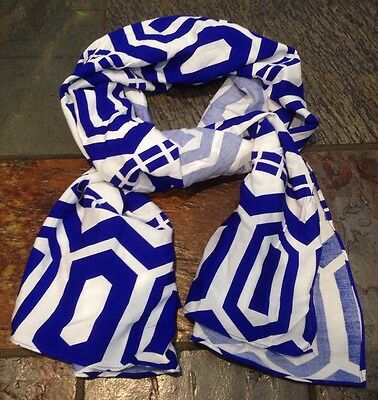 Euc Gymboree Girls One Size Blue And White Scarf