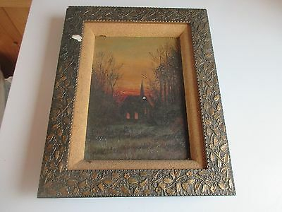 Very Old Antique 1800s Oil Painting On Canvas in Original Frame