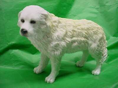 GREAT PYRENEES dog HAND PAINTED FIGURINE Resin STATUE white Puppy COLLECTIBLE