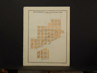 Minnesota Clear Water County Map City of Bagley  1912  Y7#09