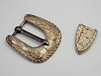 Vintage Mexico VHLC Plata de Jalisco Sterling Silver Design Belt Buckle & Tip