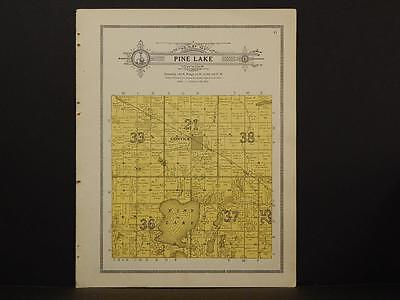 Minnesota Clear Water County Map Pine Lake Township 1912  Y7#16