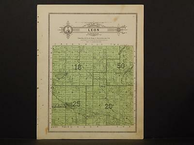 Minnesota Clear Water County Map Leon Township 1912  Y7#17