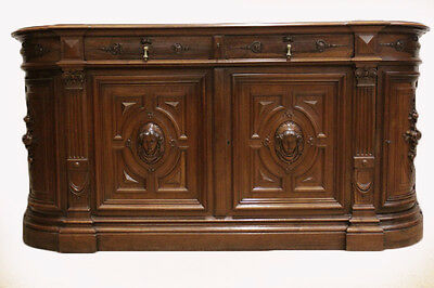 Antique French Renaissance Bombe Server Sideboard or Credenza Carved Busts
