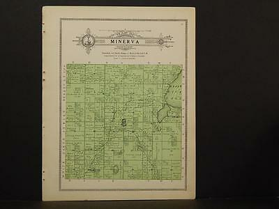 Minnesota Clear Water County Map Minerva Township 1912  Y7#23