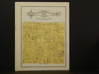 Minnesota Clear Water County Map Rice Township 1912  Y7#24