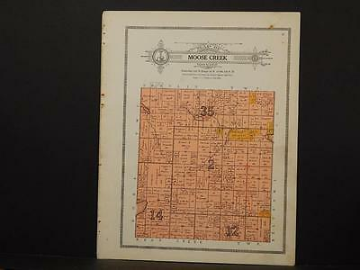 Minnesota Clear Water County Map Moose Creek Township 1912  Y7#26