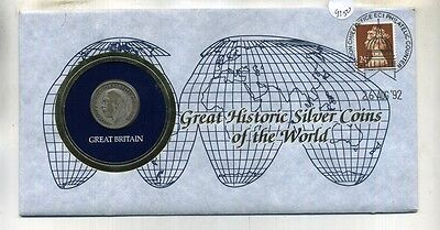 1926 Great Britain 1 Shilling Silver Coin And Stamp Cover