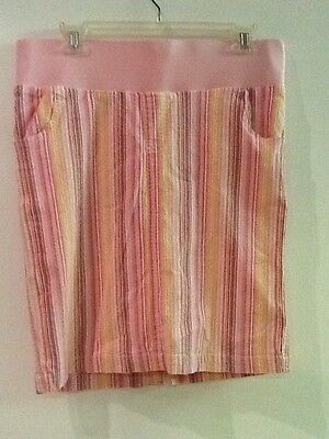 In Due Time Maternity ~ Cotton Blend Pink Striped Skirt ~ Size S Small