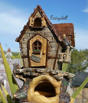 Treetop Cottage ~ Fairy Tree House With Opening Door~ Magical Pixie Elf Home