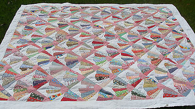 """graphic vintage all hand quilted cotton Fan quilt, 89"""" x 78"""" *"""