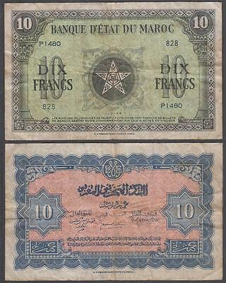 1944 WW II First Issue Occupied Morocco 10 Francs