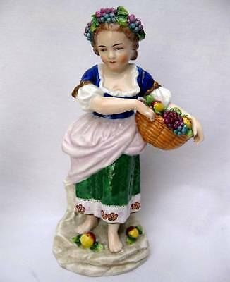 Antique Sitzendorf German Porcelain Figurine Young Girl With Basket Of Fruit