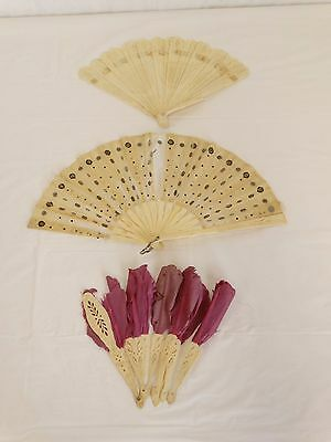 Lot of 3 Fans Antique VICTORIAN Hand Carved Bone Chinese 19th c AS IS