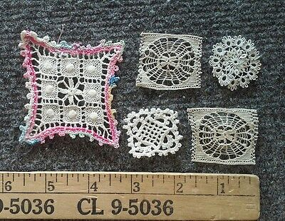 5 Vintage Antique Miniature Dollhouse Size Lace Doilies Crochet Lacing
