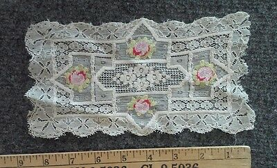 Vintage Antique Lace Doilie w Embroidered Flowers
