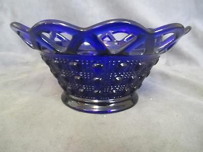 A2 Imperial Glass Cobalt Button & Cane Mayonnaise Bowl Reticulated Laced Border