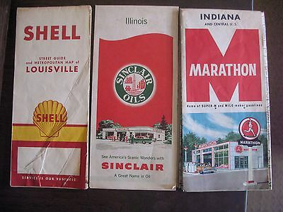 3 Old Road Maps Gas Station Shell Sinclair Marathon Illinois Indiana Louisville