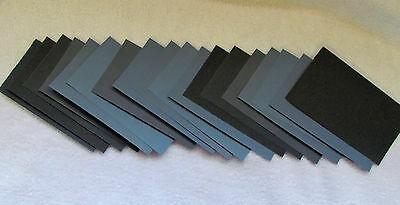 """Sandpaper Wet Dry 18 pc, 3"""" X 5 1/2""""  Sheets 220 400 600 800 1000 1500 grits"""