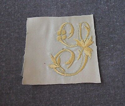 Antique Victorian Hand Embroidery Golden Letter S Sky Blue Silk For Repurpose