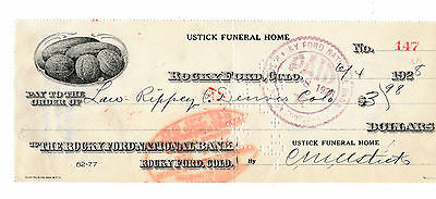 Old Check  Rocky Ford National Bank, Colorado   1928