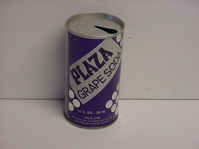 Vintage Plaza Grape Soda Straight Steel Pull Tab Pop Can Top Opened