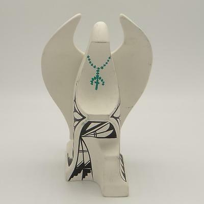 American Southwest Motif White Fired Clay Angel Nun Sculpture Rosary signed BJ